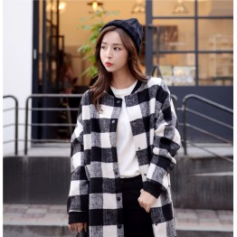 TE1545GJWL Winter large checks stand collar woolen coat