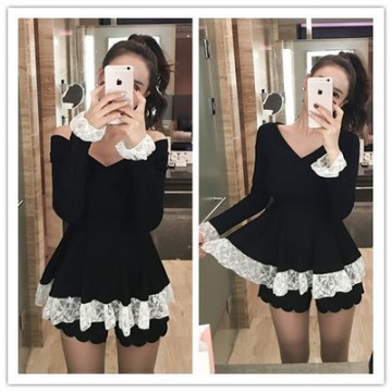 TE1549GJWL New style off shoulder slim lace splicing sweater