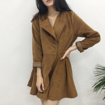 TE1699DYH Pure color joker long sleeve zipper woolen coat