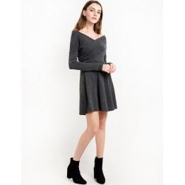 TE2333XYD Euramerica winter cross v neck long sleeve dress