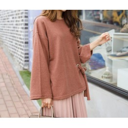 TE6523YZS Batwing sleeve lacing waist backing shirt
