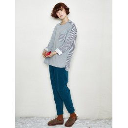 TE6534YZS Stripes splicing round neck pullover sweatshirt