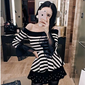 TE1550GJWL New style fashion slim stripes trumpet sleeve t-shirt