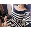 TE1550GJWL New style fashion slim stripes trumpet sleeve t-shirt