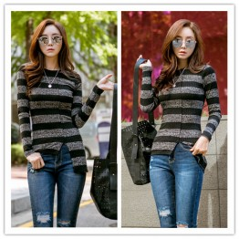 TE1551GJWL Stripes spandex slim irregular backing t-shirt