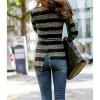 TE1551GJWL Stripes spandex slim irregular backing t-shirt