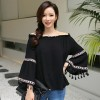 TE1553GJWL Boat neck elastic flouncing lace trumpet sleeve shirt