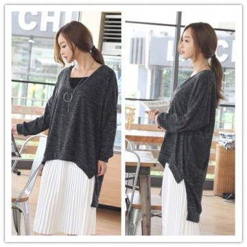 TE1556GJWL Loose casual v neck irregular joker sweater