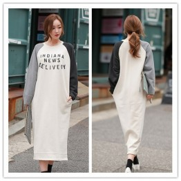 TE1558GJWL Korean fashion splicing print loose long t-shirt