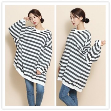 TE1559GJWL New style fashion large size cross stripes t-shirt