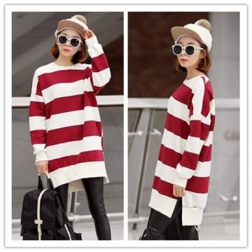 TE1560GJWL Loose casual large size cross stripes long t-shirt