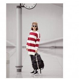 TE1560GJWL Loose casual large size cross stripes long t-shirt