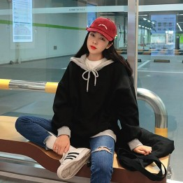 TE6528YZS Casual batwing sleeve contract color hoodie