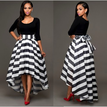TE0999DNFS Boat neck long sleeve tops with stripes skirt