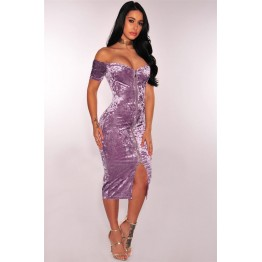 TE1318BNYR Sexy Euramerica diamond velvet zipper boat neck dress