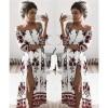 TE1321BNYR Hot sale loose digital print boat neck dress