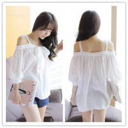 TE1449GJWL Casual fashion preppy style gallus loose shirt