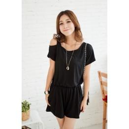 TE1457GJWL Korean fashion off shoulder pure color jumpsuit