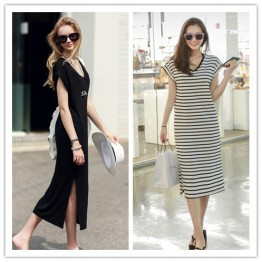 TE1460GJWL Newest Euramerica fashion casual comfortable v neck long dress