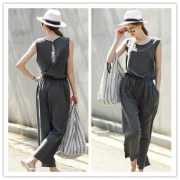 TE1462GJWL Fashion Euramerica vest backless slim jumpsuit