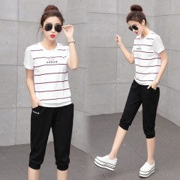 TE353YMN Stripes tops sports casual tracksuit