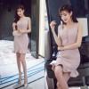 TE6107QQWL Slim flouncing fishtail tight hip vest dress