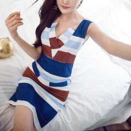 TE6113QQWL Korean fashion slim empire waist sexy v neck stripes tight hip dress