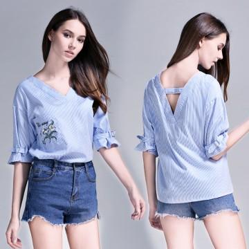 TE6227QQZJ Embroidery v neck half sleeve stripes shirt