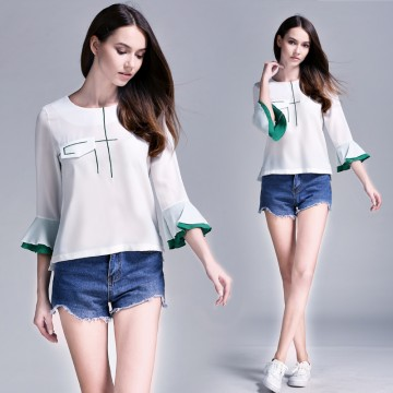 TE6228QQZJ Summer embroidery color matching trumpet sleeve shirt