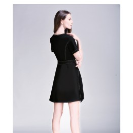TE6229QQZJ Summer irregular slim waist short sleeve temperament dress