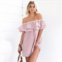 TE6233QQZJ Boat neck off shoulder flouncing dress