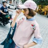 TE416GY Personality cartoon embroidery fresh t-shirt