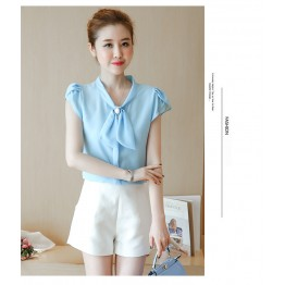 TE573LHFS Summer bowknot neck short sleeve chiffon shirt