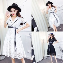 TE6243ZYFS Korean fashion temperament color matching lacing lace dress