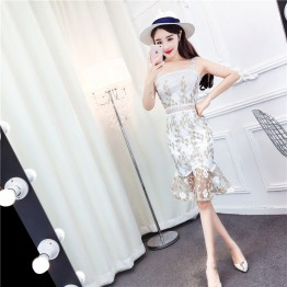 TE6245ZYFS Sexy backless embroidery hollow out flouncing gallus dress
