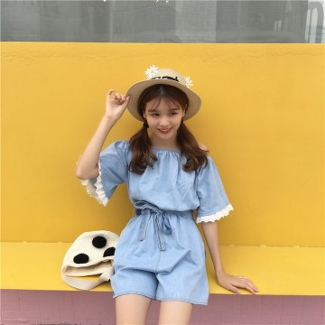 TE6260QBY Korean fashion fresh boat neck empire waist denim jumpsuit
