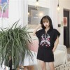 TE6269QBY Korean fashion embroidery t-shirt with cap and casual shorts suit