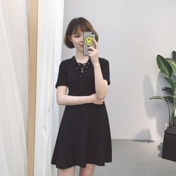 TE9301FYB Slim v neck black dress