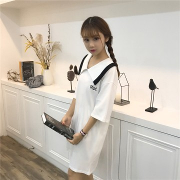 TE9760HTL Lapel embroidery letters preppy style dress