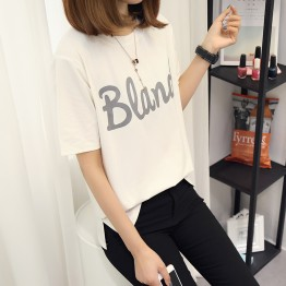 TE588XGM Korean fashion letters print round neck joker t-shirt
