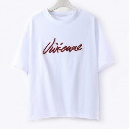 TE595XGM Korean fashion Personality embroidery letters loose t-shirt