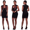TE7812WYZ Euramerica fashion embroidery flower v neck tight hip sexy dress