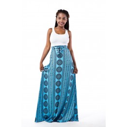 TE7816WYZ Hot sale cotton t-shirt with vintage print wide hem maxi skirt