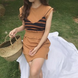 TE8141HSJL Korean chic stripes gallus pure color t-shirt and fashion skirt three pieces