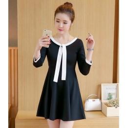 TE8701XBFS Korean fashion empire waist slim Hepburn black dress