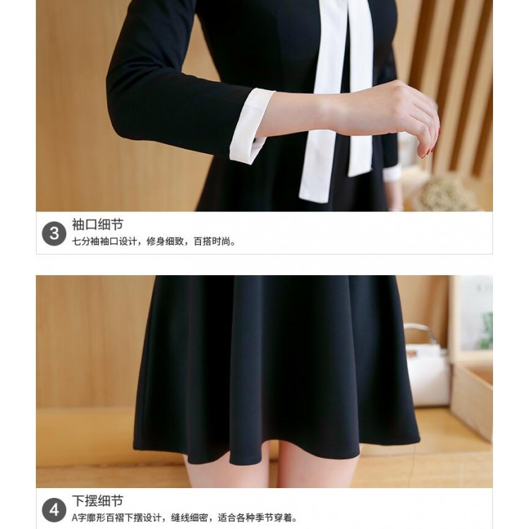 dcf045a98df TE8701XBFS Korean fashion empire waist slim Hepburn black dress