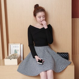 TE8702XBFS Korean fashion slim sexy off shoulder boat neck houndstooth dress