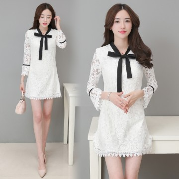 TE8705XBFS Debutant elegant trumpet sleeve lacing bowknot hollow out lace dress