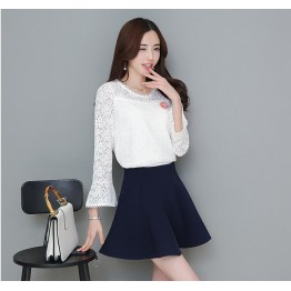 TE8706XBFS New style trumpet sleeve lace tops with empire waist skirt