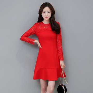 TE8707XBFS New style lace splicing fishtail red formal dress